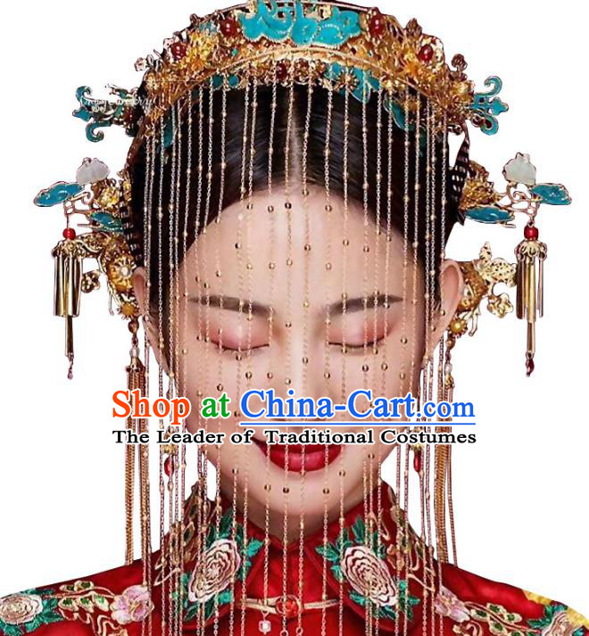 Chinese Ancient Handmade Palace Cloisonne Phoenix Coronet Tassel Step Shake Hair Accessories Traditional Hairpins for Women
