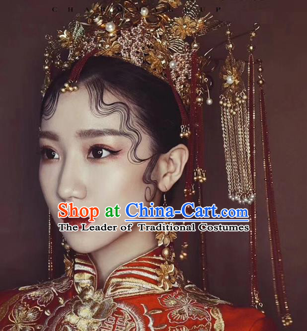 Chinese Ancient Handmade Palace Golden Phoenix Coronet Step Shake Hair Accessories Traditional Hairpins for Women