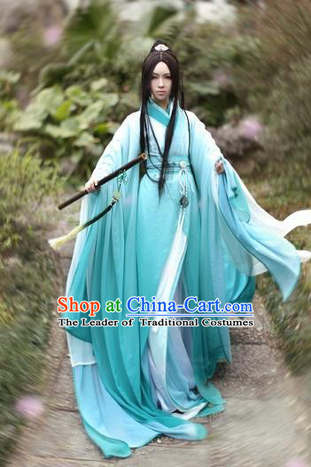Ancient Chinese Nobility Childe Wide Sleeve Hanfu Jin Dynasty Scholar Swordsman Costumes for Men