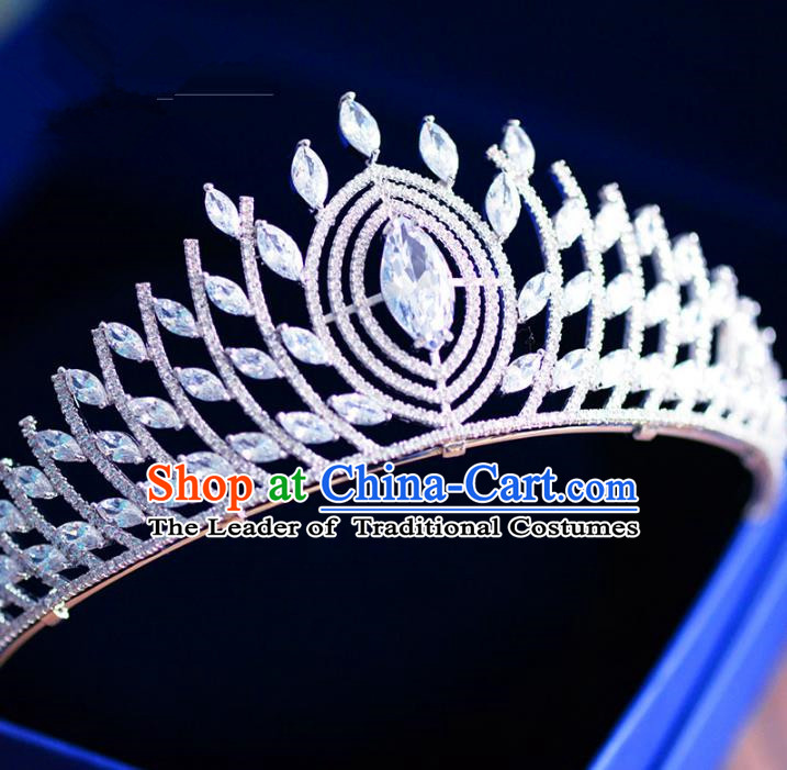 Top Grade Handmade Baroque Hair Accessories Bride Luxurious Zircon Royal Crown Headwear for Women