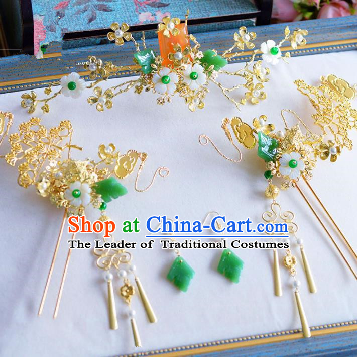 Chinese Ancient Handmade Palace Traditional Jade Hair Accessories Xiuhe Suit Golden Hairpins Complete Set for Women