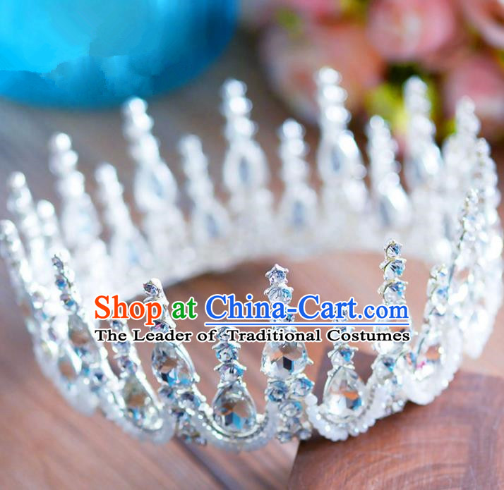Top Grade Handmade Baroque Hair Accessories Bride Round Zircon Royal Crown Headwear for Women