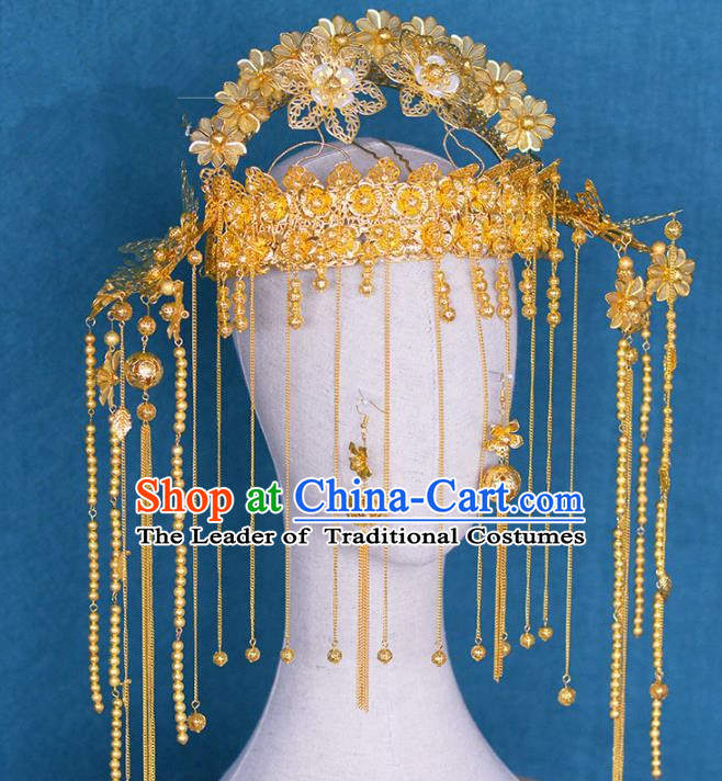 Chinese Ancient Handmade Palace Traditional Golden Phoenix Coronet Hair Accessories Xiuhe Suit Hairpins for Women
