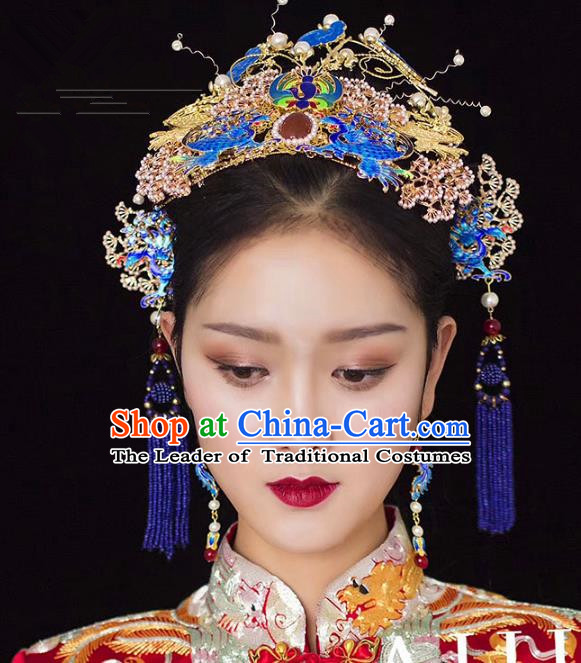Chinese Ancient Handmade Palace Traditional Cloisonne Phoenix Coronet Hair Accessories Xiuhe Suit Hairpins for Women