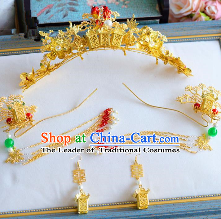 Chinese Ancient Handmade Palace Tassel Step Shake Traditional Phoenix Coronet Hair Accessories Xiuhe Suit Hairpins for Women