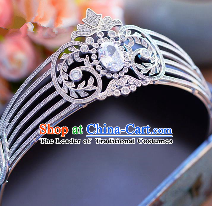Top Grade Handmade Baroque Hair Accessories Princess Zircon Royal Crown Headwear for Women