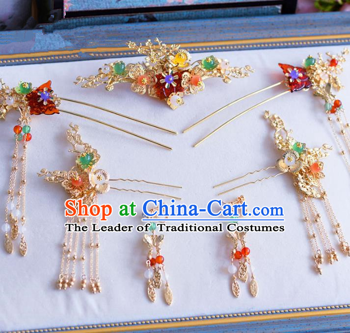 Chinese Ancient Handmade Palace Tassel Step Shake Traditional Hair Accessories Xiuhe Suit Hairpins for Women