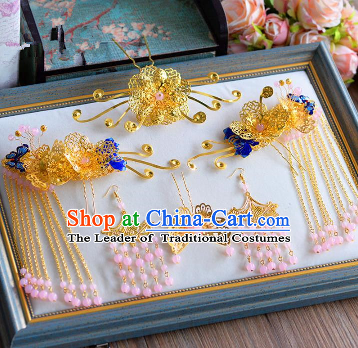 Ancient Chinese Handmade Traditional Hair Accessories Hair Clips Xiuhe Suit Hairpins for Women