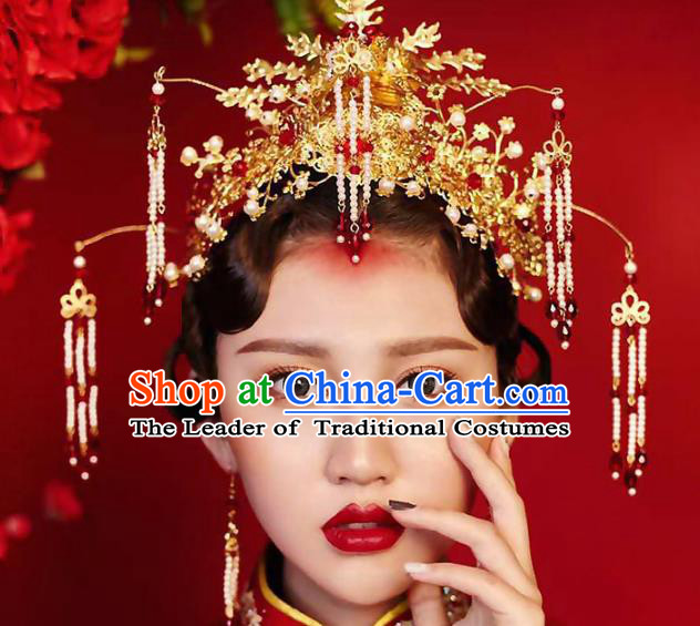Ancient Chinese Handmade Traditional Hair Accessories Pearls Tassel Phoenix Coronet Xiuhe Suit Hairpins for Women