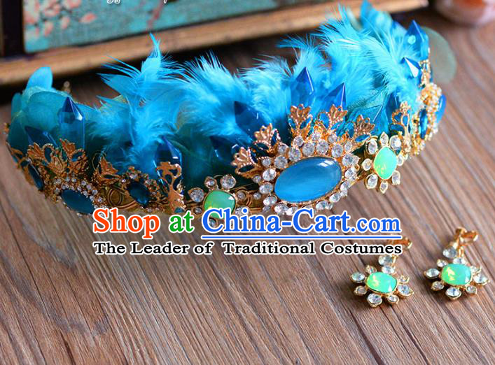 Top Grade Handmade Baroque Hair Accessories Princess Blue Feather Royal Crown Headwear for Women