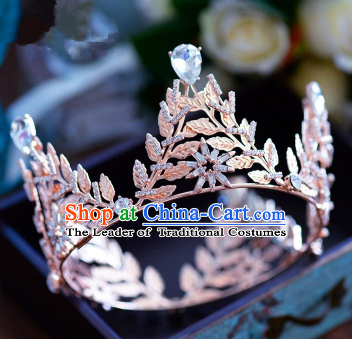 Top Grade Handmade Hair Accessories Baroque Princess Crystal Round Royal Crown Headwear for Women