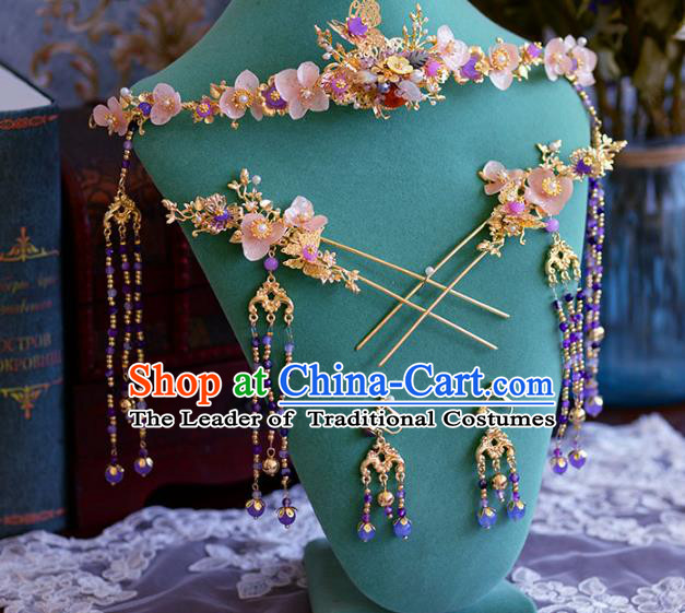 Ancient Chinese Handmade Traditional Hair Accessories Pink Flowers Phoenix Coronet Hairpins Complete Set for Women