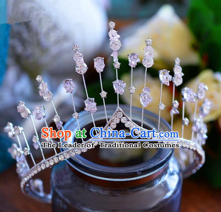 Top Grade Handmade Hair Accessories Baroque Princess Zircon Royal Crown Headwear for Women