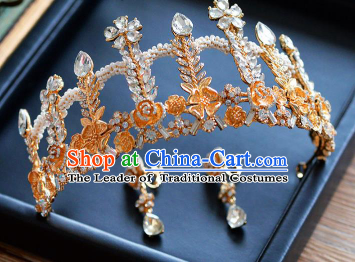 Top Grade Handmade Hair Accessories Baroque Princess Golden Royal Crown Headwear for Women