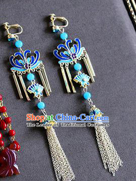 Top Grade Chinese Handmade Wedding Earrings Accessories Bride Blueing Lotus Eardrop for Women