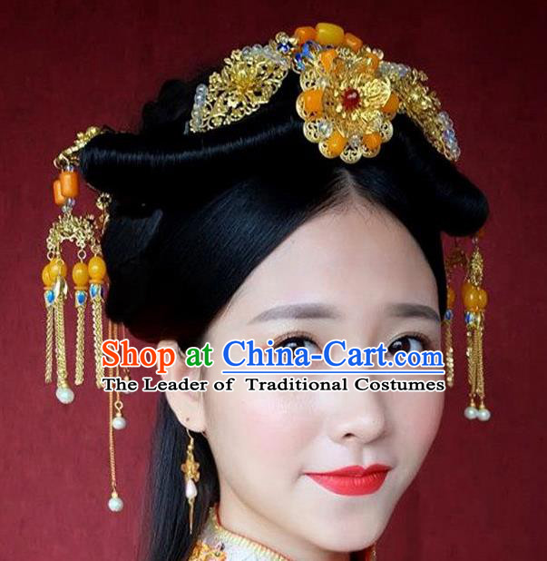 Ancient Chinese Handmade Classical Hair Accessories Xiuhe Suit Jade Hairpins Complete Set for Women