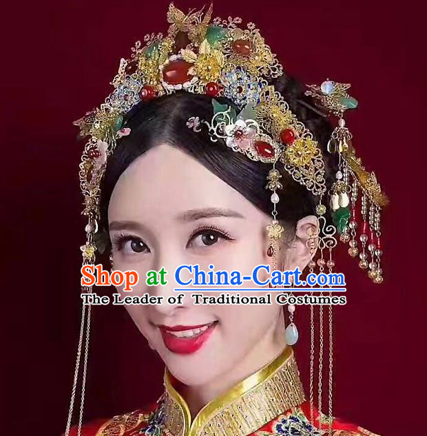 Ancient Chinese Handmade Classical Hair Accessories Xiuhe Suit Phoenix Coronet Hairpins Complete Set for Women