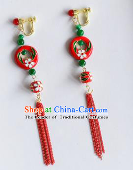 Top Grade Chinese Handmade Wedding Red Tassel Earrings Accessories Bride Eardrop for Women