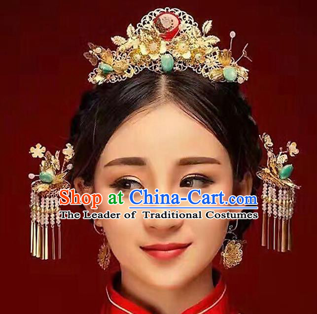 Ancient Chinese Handmade Classical Hair Accessories Hairpins Phoenix Coronet Tassel Step Shake Complete Set for Women