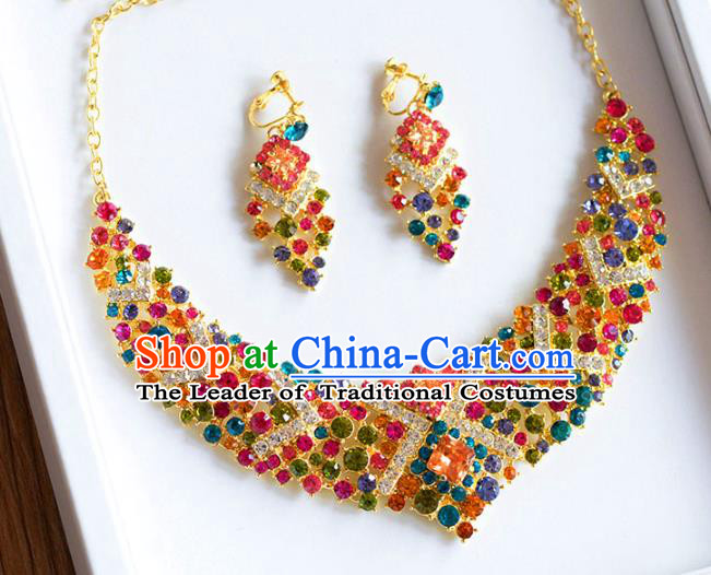 Top Grade Handmade Wedding Accessories Bride Colorful Crystal Necklace and Earrings for Women