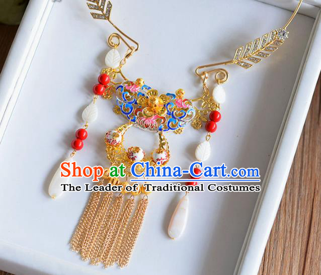 Top Grade Handmade Wedding Accessories Bride Golden Hanfu Necklace for Women