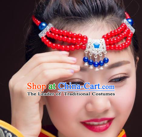 Traditional Chinese Mongol Nationality Dance Hair Accessories, Mongolian Minority Red Beads Tassel Headwear for Women