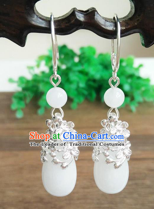 Top Grade Chinese Handmade Wedding Accessories Hanfu Palace White Jade Brass Earrings for Women