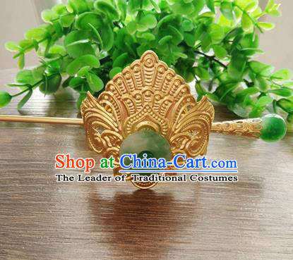 China Ancient Nobility Childe Handmade Hair Accessories Swordsman Golden Hairdo Crown Headwear for Men