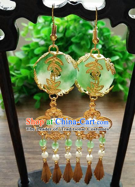 Top Grade Chinese Handmade Wedding Accessories Jadeite Jade Eardrop Hanfu Earrings for Women