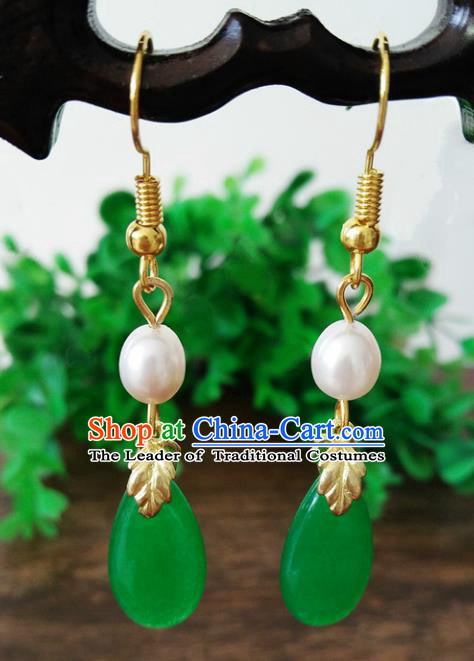 Top Grade Chinese Handmade Wedding Accessories Jadeite Jade Eardrop Hanfu Pearl Earrings for Women