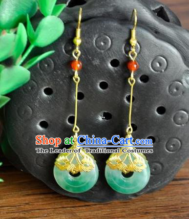 Top Grade Chinese Handmade Wedding Accessories Hanfu Jadeite Earrings for Women