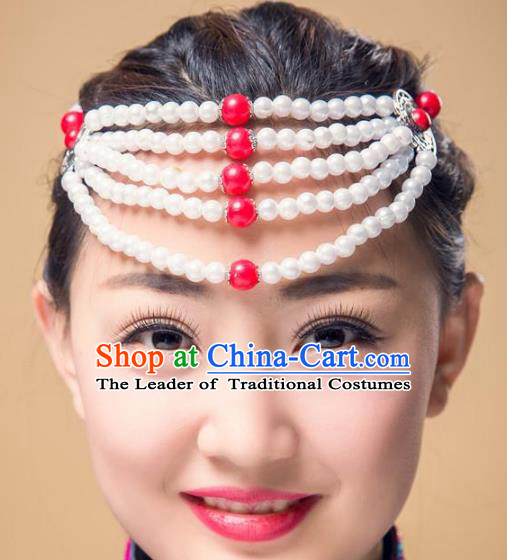 Traditional Chinese Mongol Nationality Handmade Hair Accessories, Handmade Mongolian Minority Red Beads Headwear for Women