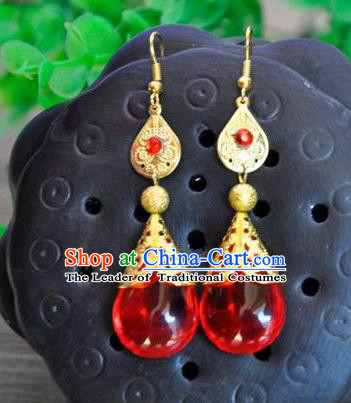 Top Grade Chinese Handmade Accessories Red Eardrop Wedding Hanfu Palace Earrings for Women