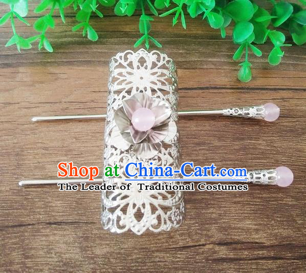 Handmade China Ancient Nobility Childe Hair Accessories Swordsman Argent Hairdo Crown for Men