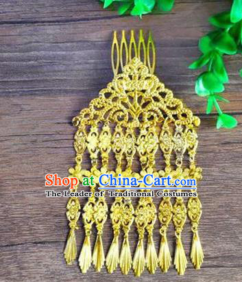Ancient Chinese Handmade Golden Tassel Hair Comb Hair Accessories Classical Hairpins for Women