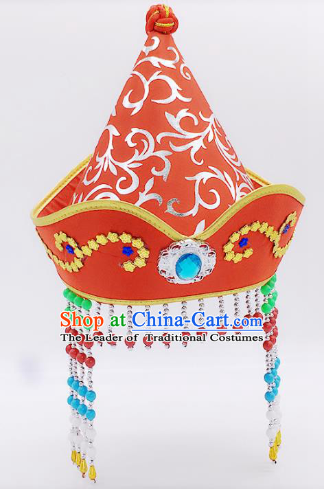 Traditional Chinese Mongol Nationality Princess Hair Accessories, Mongolian Minority Red Hats for Kids