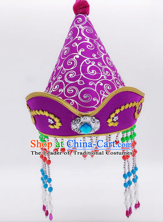 Traditional Chinese Mongol Nationality Princess Hair Accessories, Mongolian Minority Purple Hats for Kids