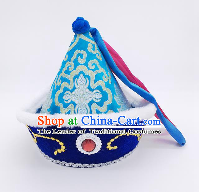 Traditional Chinese Mongol Nationality Prince Hat, Mongolian Minority Royalblue Hats for Kids