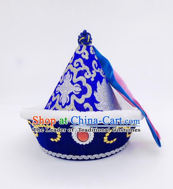 Traditional Chinese Mongol Nationality Prince Hat, Mongolian Minority Blue Hats for Kids