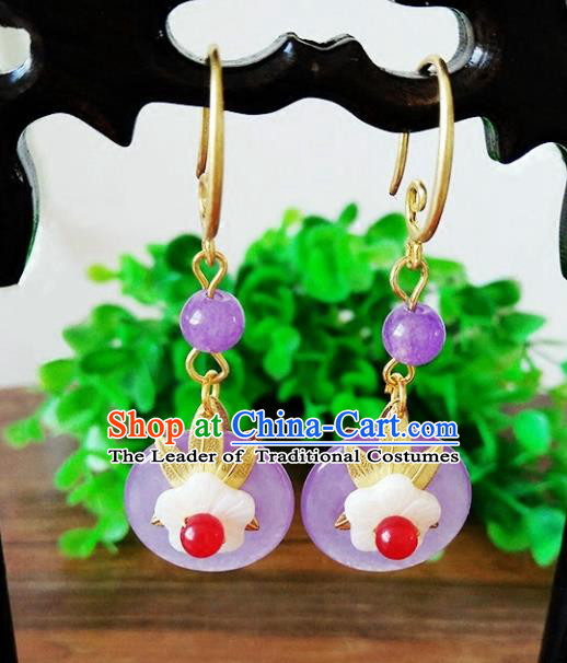 Top Grade Chinese Handmade Accessories Hanfu Purple Jade Eardrop Ancient Earrings for Women
