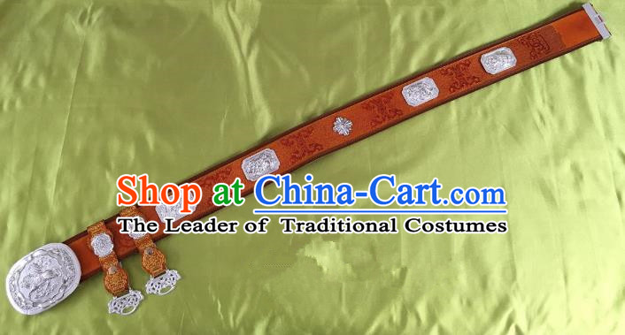 Traditional Chinese Mongol Nationality Waist Accessories, Mongolian Minority Leather Belts Waistband for Men