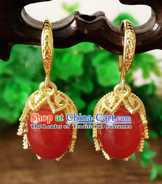 Chinese Handmade Accessories Hanfu Red Jade Eardrop Ancient Earrings for Women