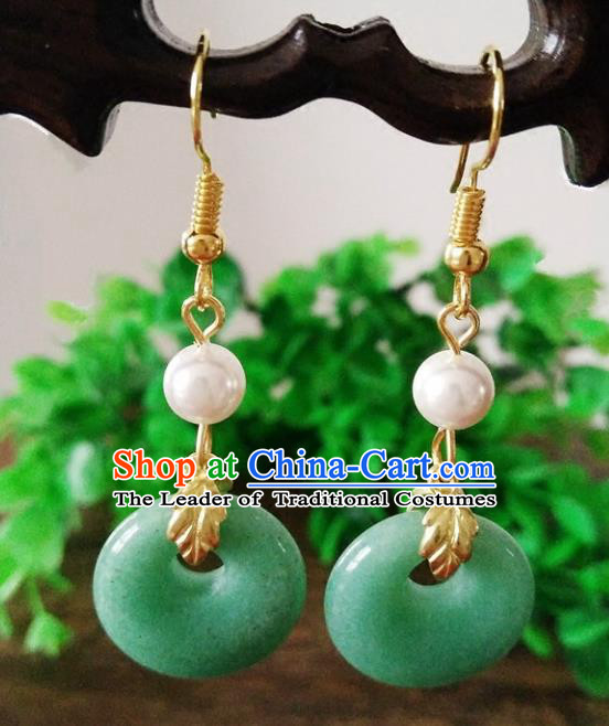 Top Grade Chinese Handmade Accessories Hanfu Aventurine Jade Eardrop Ancient Earrings for Women