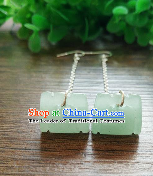 Chinese Handmade Accessories Hanfu Jade Eardrop Ancient Tassel Earrings for Women