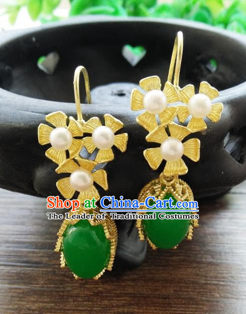 Chinese Handmade Accessories Hanfu Princess Jade Eardrop Ancient Pearls Earrings for Women
