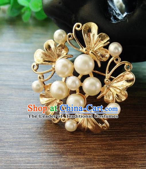 Chinese Ancient Handmade Brooch Jewelry Accessories Golden Breastpin for Women