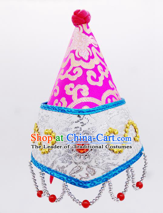 Traditional Chinese Mongol Nationality Pink Hats Hair Accessories, Mongolian Minority Dance Headwear for Kids