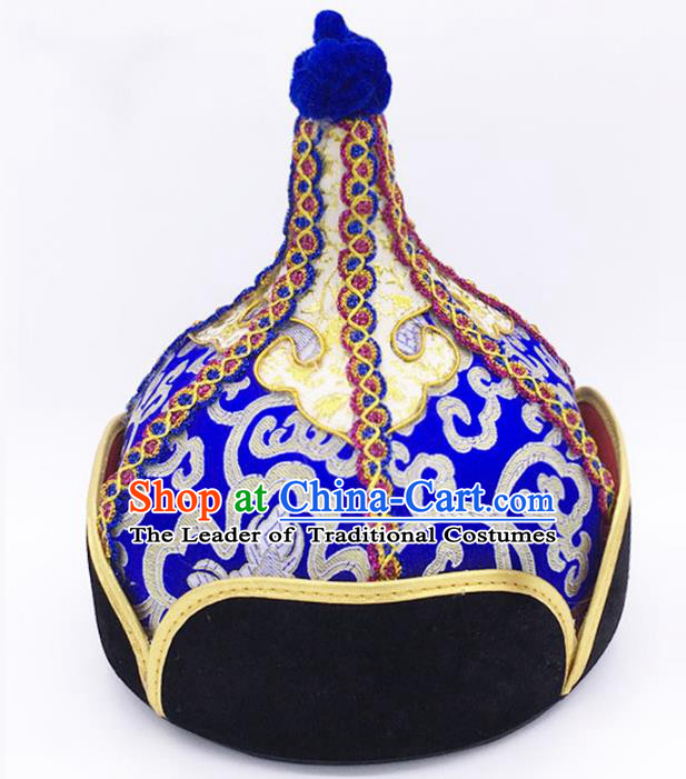 Traditional Chinese Mongol Nationality Blue Hat Hair Accessories, Handmade Mongolian Minority Prince Hats Headwear for Men