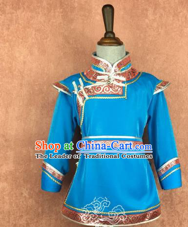 Traditional Chinese Mongol Nationality Costume, Mongolian Folk Dance Blue Robe Clothing for Kids