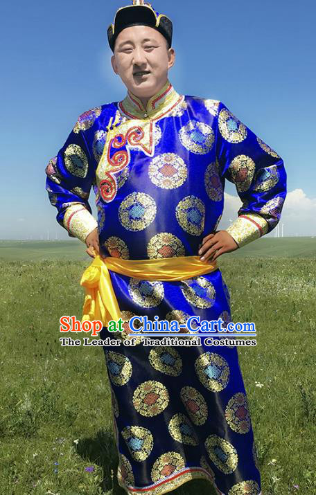 Traditional Chinese Mongol Nationality Costume Royalblue Mongolian Robe, Mongolian Folk Dance Clothing for Men